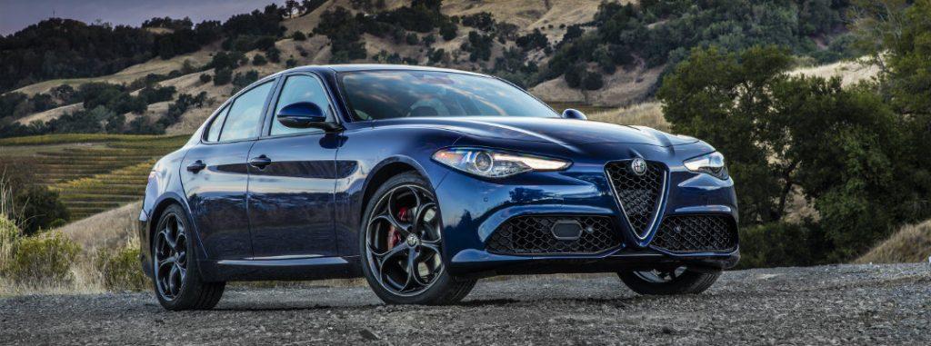 Image of a blue 2019 Alfa Romeo Giulia Sport.